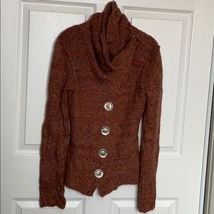 IKE cowl neck cardigan sweater with lot